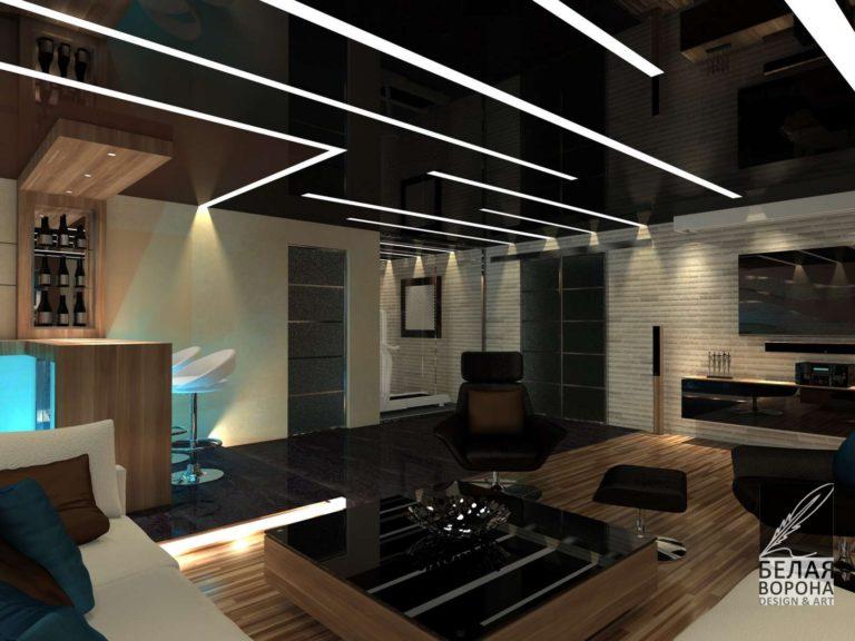 Гостинная в тусклом освещении. Дизайн-проект гостинной в современном интерьере