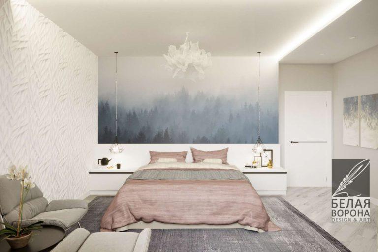 Дизайн спальни с использованием фотообоев Стильная спальня в светлых тонах
