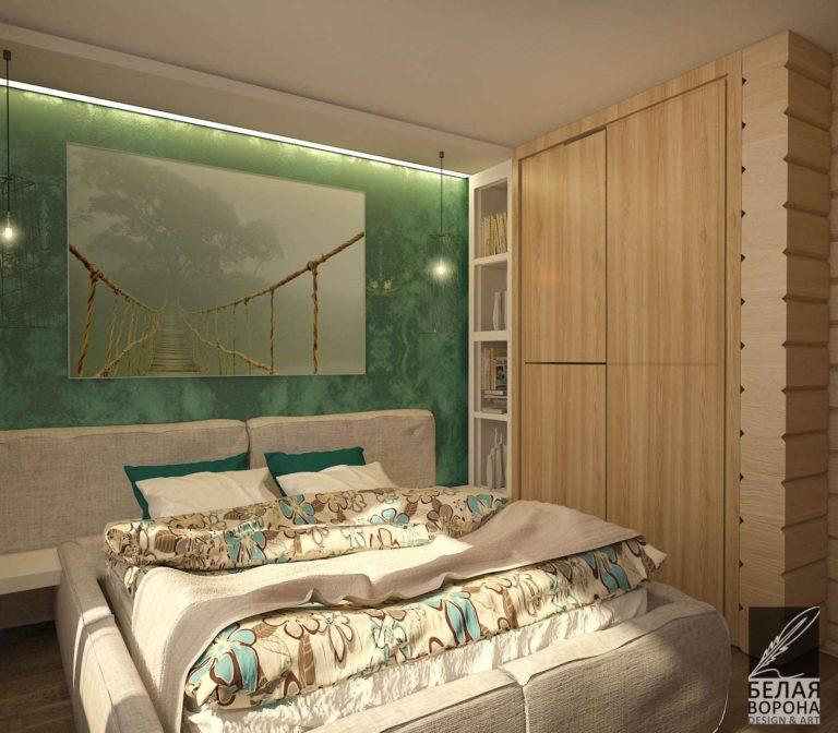 Спальня в монохроме с яркими цветовыми элементами по дизайн-проекту