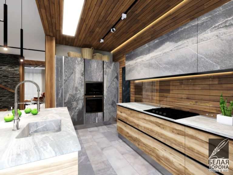 Кухонное пространство в современном дизайнерском интерьере. Мебель для кухни.