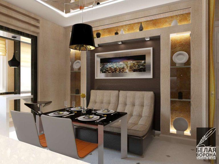 Кухня совмещённая со столовой в современном дизайне интерьера