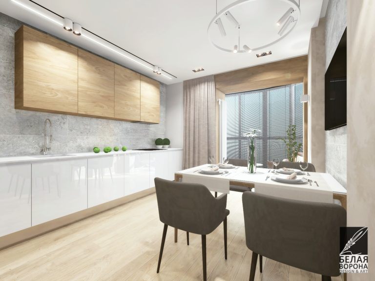 Столовая совмещённая с кухонной зоной. Преимущественно нейтральные тона в сочетании с небольшим количеством цветовых акцентов