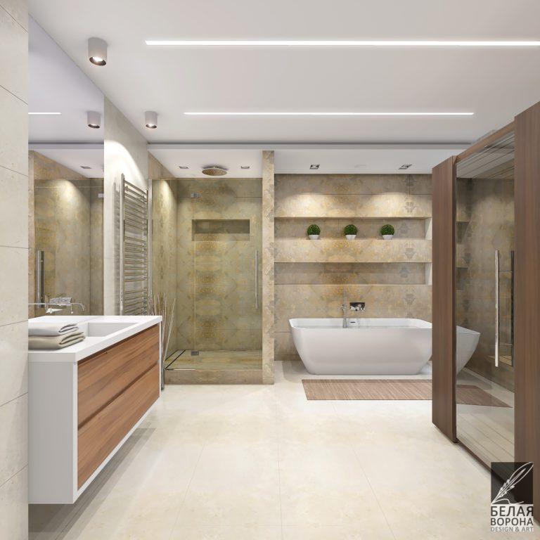 дизайн проект ванной в с применением цветовых акцентов