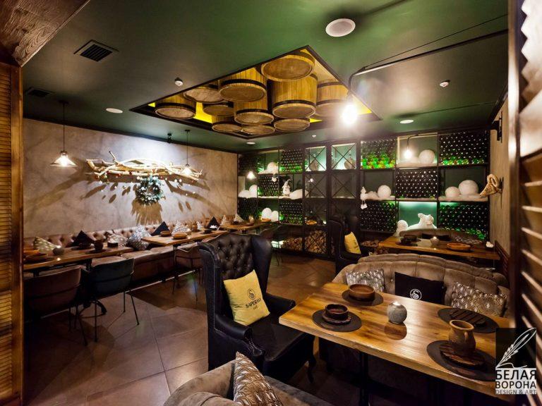 Отделка помещения ресторана пос современному дизайнерскому проекту