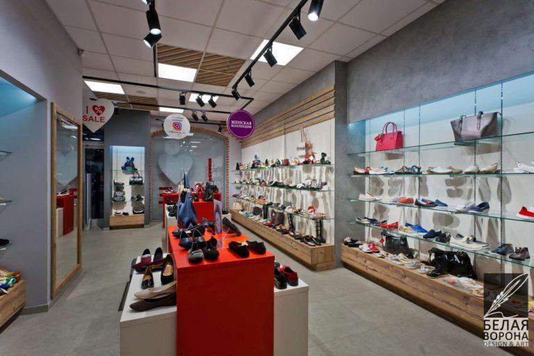 Зал обувного магазина в рамках коммерческого помещения