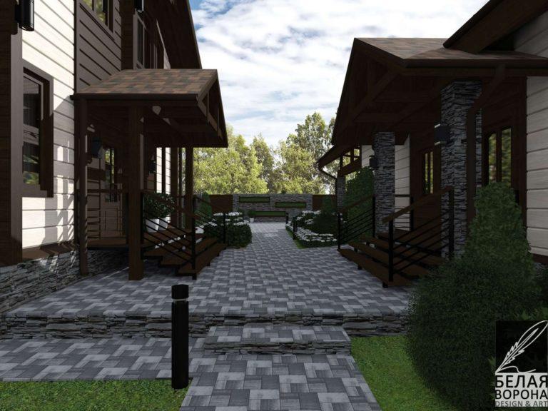 Дизайнерский проект фасада экстерьера дачного дома