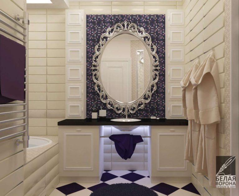 Ванная в светлых тонах с массивными декоративными элементами в гостинной