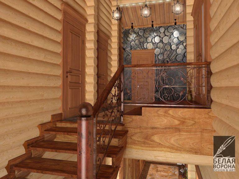 Дизайнерский проект лестница в деревянном доме