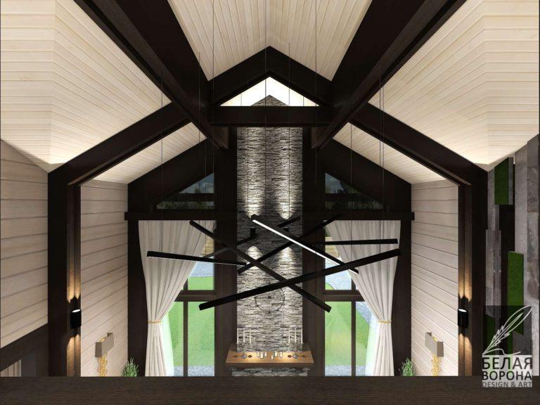Дом без чердака. изогнутый потолок спальни
