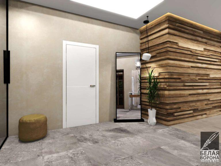 дизайн проект холла в современном стиле Светлая дверь как акцент в интерьере