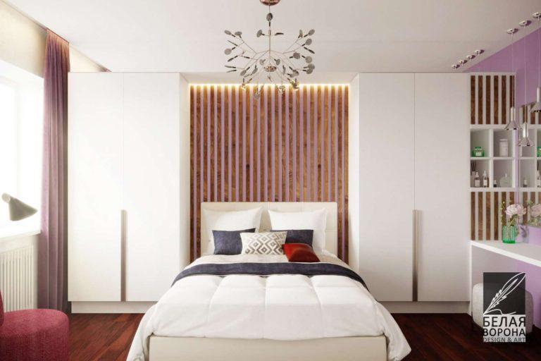 дизайнерский проект спальни в светлых тонах с элементами отделки сделанным из дерева