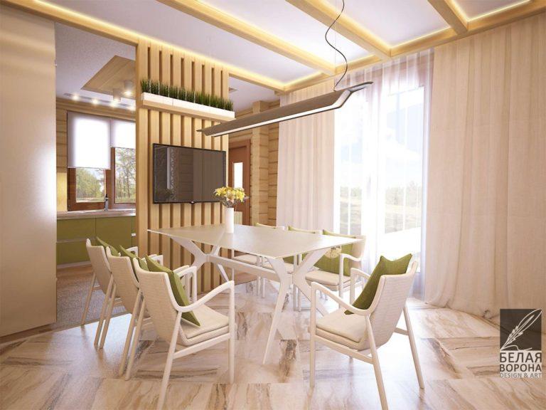 Столовая в светлых тонах с декоративными элементами приближенными по цветовой гамме к природной