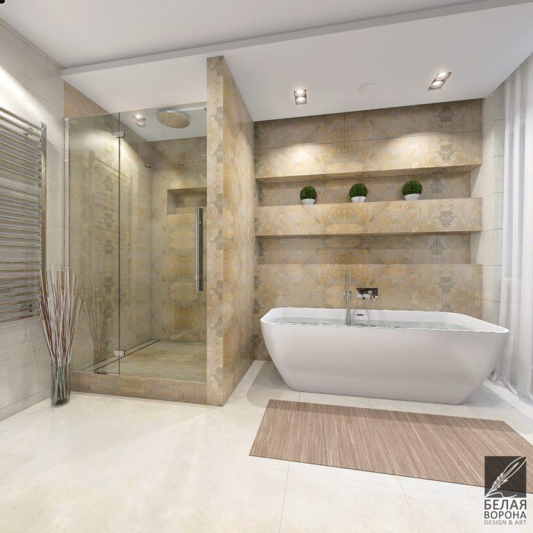 Дизайн-проект ванной комнаты с элементами экостиля в нейтральной цветовой гамме