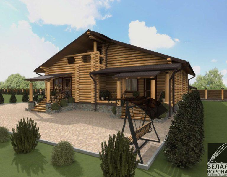 дизайн экстерьер фасада экстерьер загородного дома из бруса