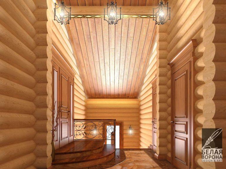 дизайн интерьера второго этажа в деревянном доме