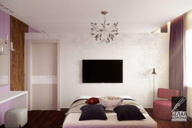 дизайн проект спальни в светлых тонах с тёмными контрастными акцентами