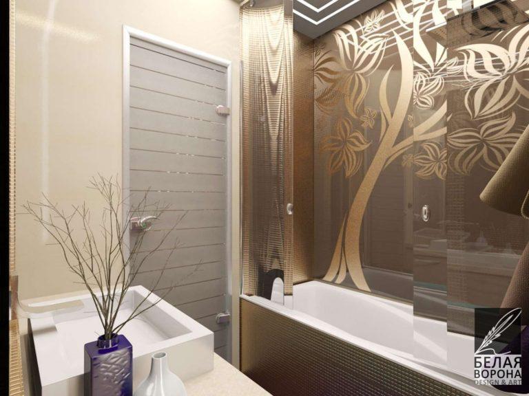 Ванная в светлых тонах с декоративными элементами в отделке