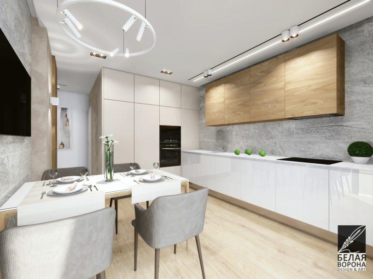 дизайнерский проект интерьера кухни в современном интерьере в монохромных тонах