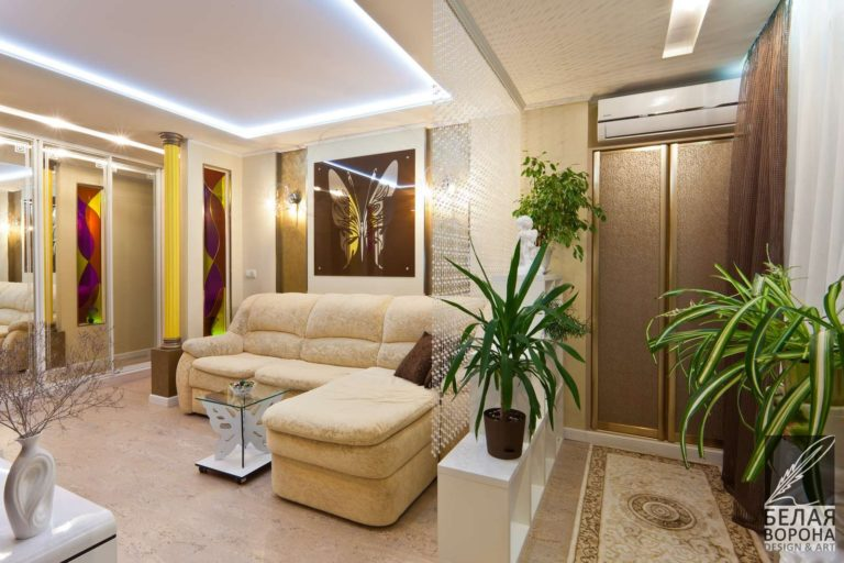 дизайн интерьер холла в с применением лёгких цветовых акцентов