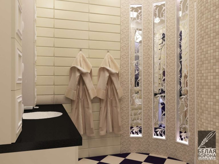 Интерьер ванной комнаты в светлых тонах с контрастным полом