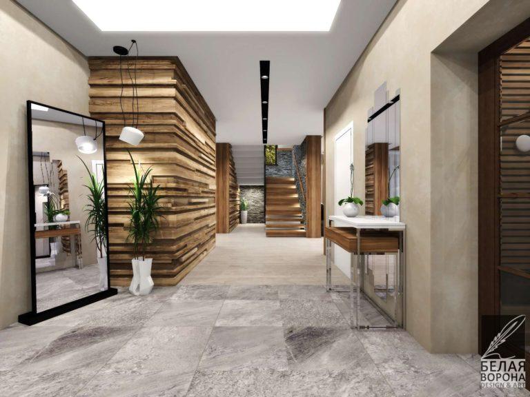 Коридор первого этажа в светлых тонах в дизайн-проекте