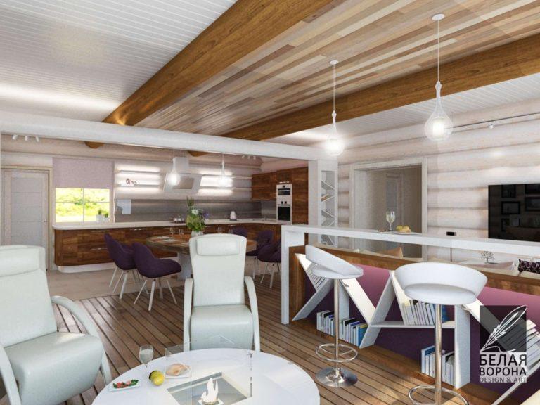 Светлый кабинет с яркими акцентами с элементами экостиля дизайн-проект