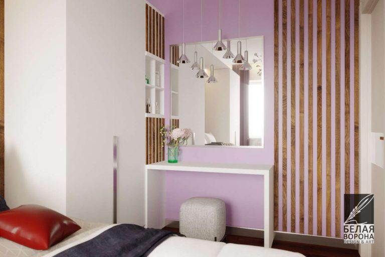дизайнерский проект спальни выполненной в светлых тонах с ярким цветовым пятном и элементами выполненными из дерева в отделке