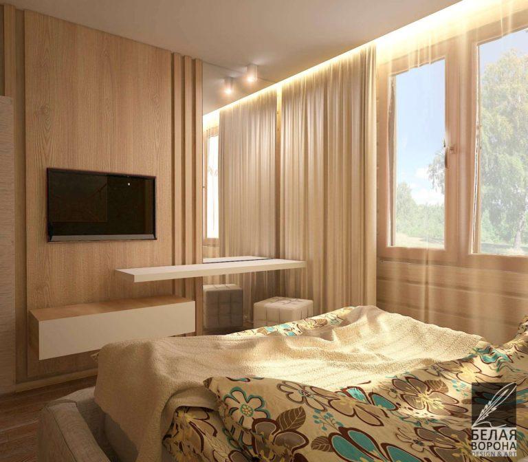 Спальня в светлых тонах с элементами из дерева в отделке. дизайн-проект