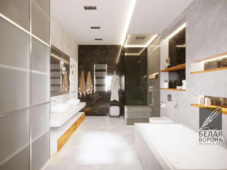 Ванная комната дизайнерский проект. Контраст в интерьере. Дизайн во Владимире
