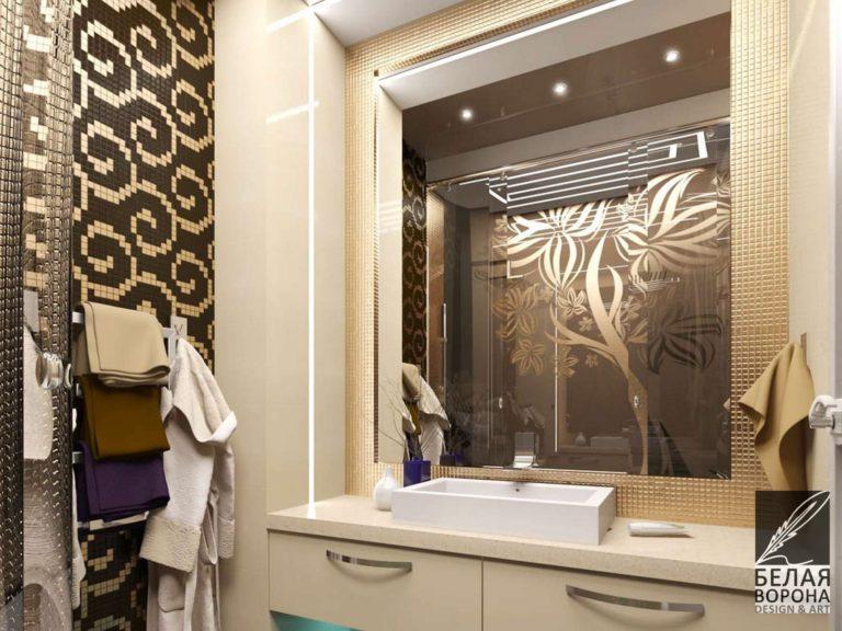 Дизайн интерьера ванной со стильными элементами декоративной отделки