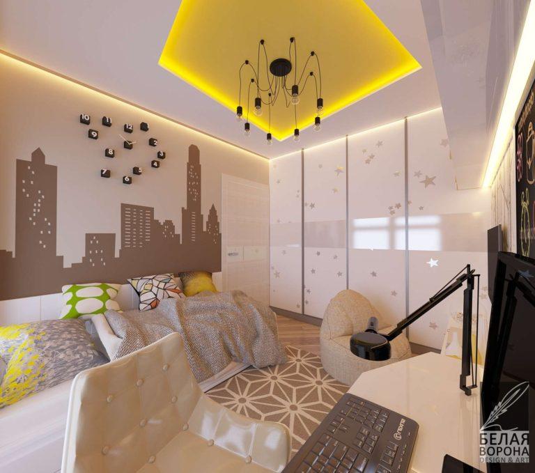дизайн проект спальни в светлых тонах с применением декоративных элементов в отделке