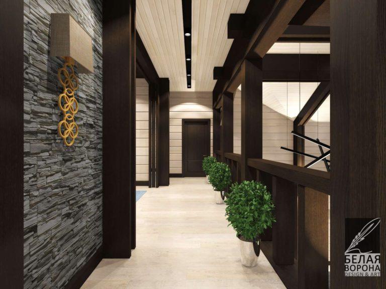 Коридор второго этажа. Дизайн-проект в светлых тонах с деревянной отделкой в тёмном цвете