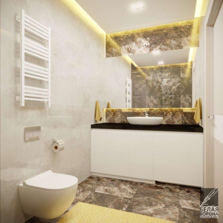 Ванная совмещённая с санузлом в дизайнерском проекте