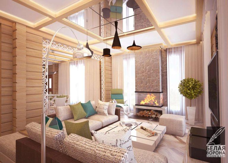 Гостинная в светлом интерьере современного дизайн-проекта