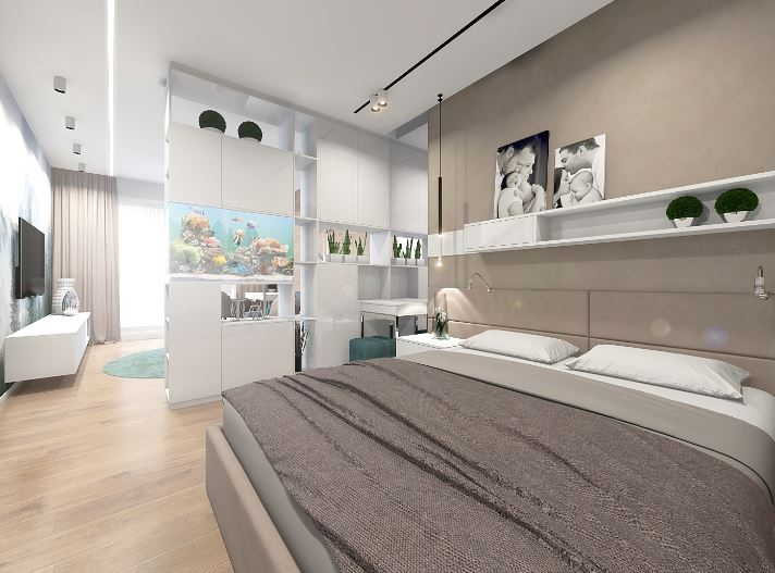 Напольное покрытие в спальне и гостиной помогло расширить пространство