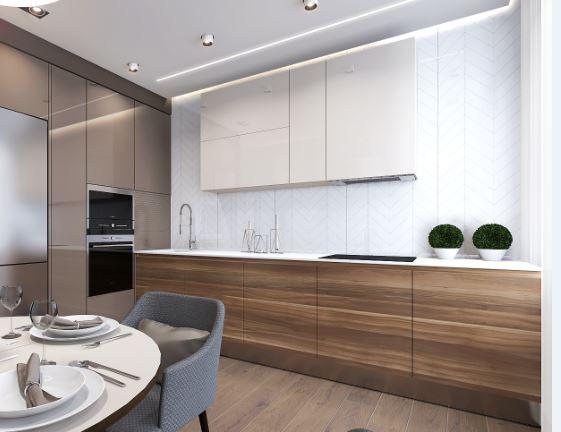 Геометрический узор плитки кухонного фартука помог расширить пространство а интерьере квартиры