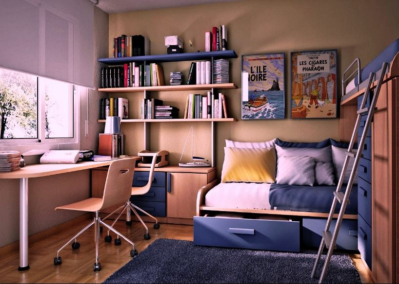 Современный интерьер детской комнаты школьника