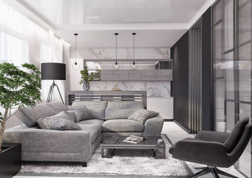 Современный однотонный интерьер гостиной