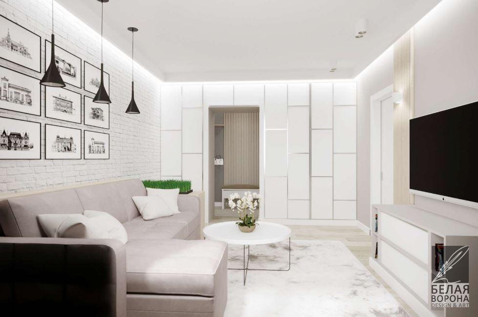 НЕйтральные оттенки в интерьере современной гостиной
