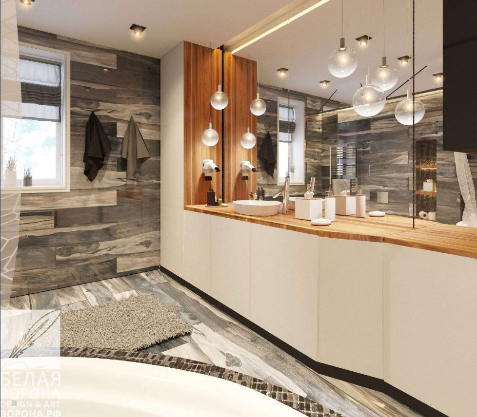 Нейтральные оттенки в интерьере современной ванной
