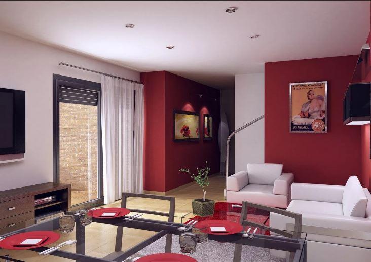 """Яркий цвет осени 2020 """"Samba"""" в элементах отделки гостиной"""