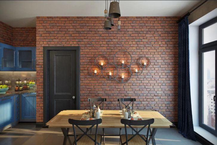 Цвет обожженного кирпича в отделке стены гостиной