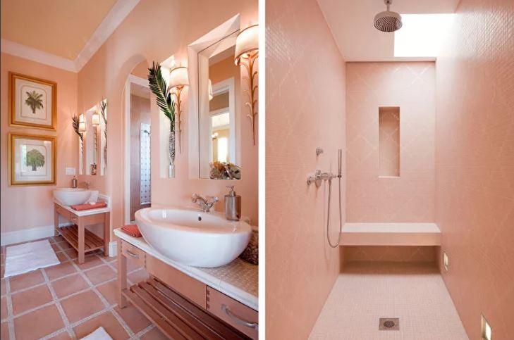 """Цвета осени. Оттенок """"Персиковая нуга"""" в отделке ванной комнаты"""
