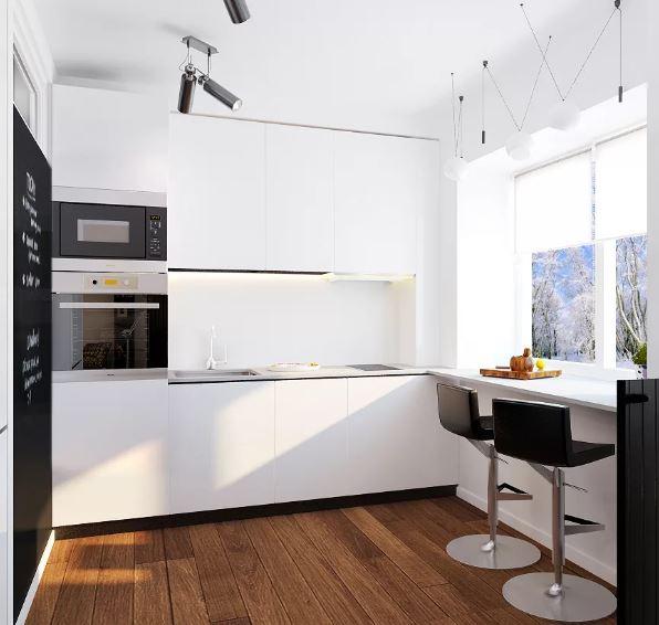 Современный стиль дизайна маленькой кухни