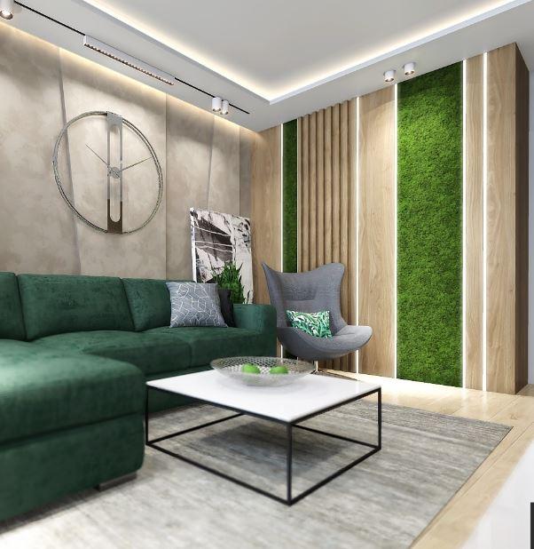 Интерьер с  растениями в гостиной