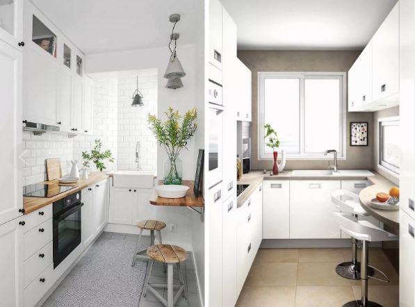 Современный п- образный интерьер небольшой кухни
