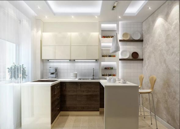 Сочетание деталей в современном интерьере маленькой кухни