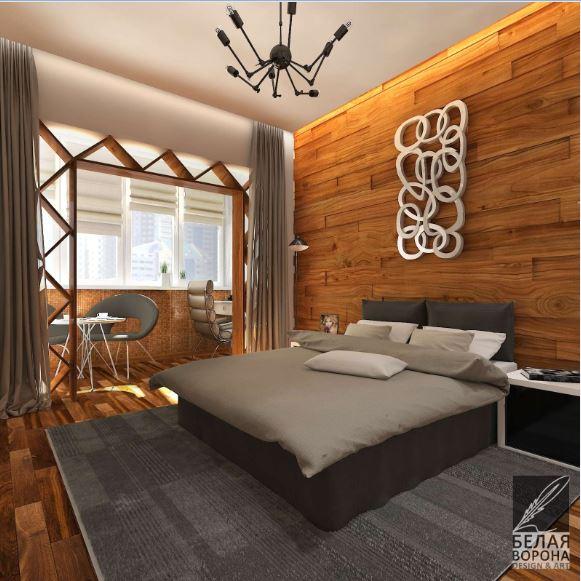 Натуральные материалы в отделке спальни, естественное и искусственное освещение