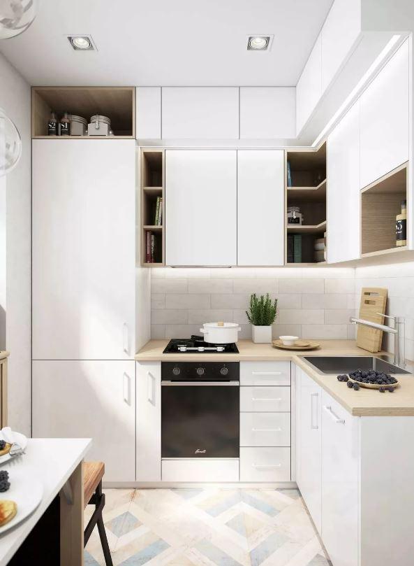 Светлый дизайн кухонного помещения