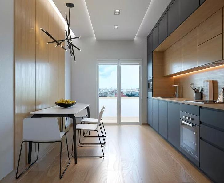 Современная небольшая кухня. Дизайн интерьера
